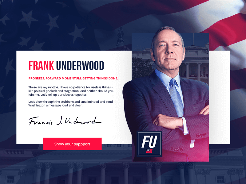 Franck underwood house of cards ui design dribbble